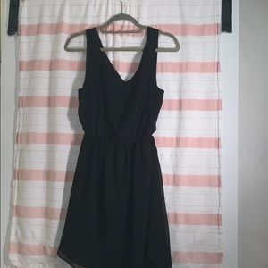 Black silky dress with open back